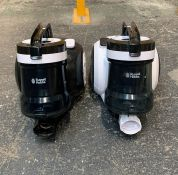 2 x RUSSELL HOBBS CYCLINDER VACCUM CLEANERS