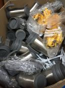 1 LOT TO CONTAIN APPROX 60 AMEY BRAND THERMO FLASK CUPS AND LIDS , LANYARDS , AND PACKS OF PENS -