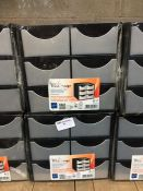 1 LOT TO CONTAIN 2 X SMALL TAKE A BREAK 6 DRAWER STORAGE STATIONS FOR DESK USE IN BLACK AND GREY -