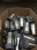1 LOT TO CONTAIN APPROX 80 AMEY BRANDED THERMO FLASK CUPS AND LIDS IN SILVER FINISH - BOXED
