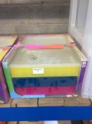 1 LOT TO CONTAIN 2 X ASSORTED COLOUR JEWELLRY BOXES IN PLASTIC WITH DRAWERS - BOXED
