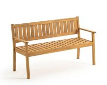 LA REDOUTE SPIRALE 3-SEATER ACACIA OUTDOOR BENCH WITH FOLDOUT SHELF