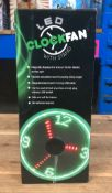 8 X LED CLOCK FAN STANDS / COMBINED RRP £120.00 / UNTESTED CUSTOMER RETURNS