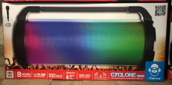 2 X IDANCE CYCLONE LED BLUETOOTH SPEAKERS - CYCLONE 1000X / COMBINED RRP £158.00 / UNTESTED CUSTOMER