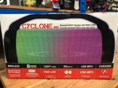 2 X IDANCE CYCLONE LED BLUETOOTH SPEAKERS - CYCLONE 400 / COMBINED RRP £60.00 / UNTESTED CUSTOMER
