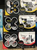 27 X NANO DRONES - COLOURS VARY / COMBINED RRP £405.00 / UNTESTED CUSTOMER RETURNS
