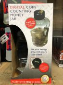 6 X DIGITAL MONEY COUNTING JARS / COMBINED RRP £95.94 / UNTESTED CUSTOMER RETURNS
