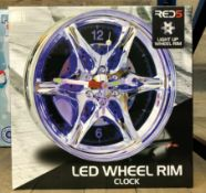 1 X LED WHEEL RIM CLOCK / RRP £25.00 / UNTESTED CUSTOMER RETURN