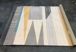 LA REDOUTE MODERN ABSTRACT RUG - GREY/BLUE/YELLOW / SIZE: 160 X 230CM