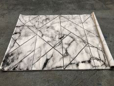 LA REDOUTE MARBLE EFFECT RUG - IVORY WITH SILVER DETAIL / SIZE: 120 X 170CM