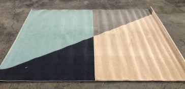 LA REDOUTE MODERN GEOMETRIC RUG - GREY/BLUE/BLACK / SIZE: 160 X 230CM