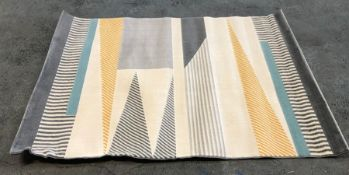 LA REDOUTE MODERN ABSTRACT RUG - GREY/BLUE/YELLOW / SIZE: 120 X 170CM