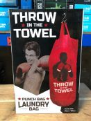 5 X THROW IN THE TOWEL LAUNDRY PUNCH BAGS / COMBINED RRP £30.00 / LIKE NEW