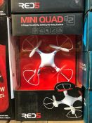 6 X MINI QUAD FLYING TOY - COLOURS VARY / COMBINED RRP £84.00 / LIKE NEW, DAMAGED PACKAGING