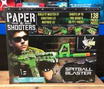6 X PAPER SHOOTERS SPITBALL BLASTERS / COMBINED RPP £84 / LIKE NEW