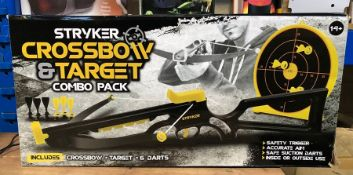 3 X STRYKER CROSSBOW AND TARGET COMBO PACKS / COMBINED RRP £60.00 / UNTESTED CUSTOMER RETURNS