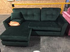 1 LOT TO CONTAIN A MALO FESTIVAL GREEN VELVET CHAISE SOFA / RRP £999.99