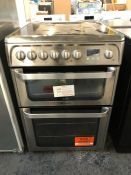 HOTPOINT 60CM DOUBLE OVEN ELECTRIC COOKER - HUE61X S / RRP £489.99 / UNTESTED, LIGHTLY USED. VERY