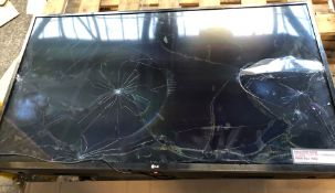 "LG 43"" SMART TV - 43M6300PLA / TESTED AND TURNS ON, SCREEN HEAVILY DAMAGED. COMES WITH TV STAND,"