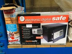 1 LOT TO CONTAIN A CATHEDRAL PRODUCTS ELECTRONIC DIGITAL SAFE MODEL NO. SAEA20, AND A BOX OF CARPLAN