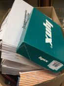1 LOT TO CONTAIN AN ASSORTMENT OF OFFICE SUPPLIES, ITEMS TO INCLUDE: A4 NOTEPADS, A5 WORKBOOKS,