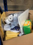 1 LOT TO CONTAIN AN ASSORTMENT OF OFFICE SUPPLIES, ITEMS TO INCLUDE: BIC PENS, DOCUMENT WALLETS,