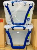1 LOT TO CONTAIN 2 X PLASTIC STORAGE BOXES WITH WHEELS AND CARRY HANDLES 64L - L2