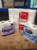 1 LOT TO CONTAIN 4 X ASSORTED PACKS OF TOILET ROLLS, 24 X ROLLS IN TOTAL - L3