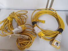 ONE LOT TO CONTAIN TWO 16A 110V-AC 'EXN3220' INDUSTRIAL EXTENSION LEAD S1134 16A-4H/110-130V.