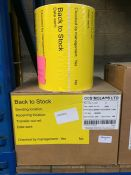 1 LOT TO CONTAIN 3 ROLLS OF BACK TO STOCK LABELS, 1000 LABELS PER ROLL, 3000 LABELS IN TOTAL FOR