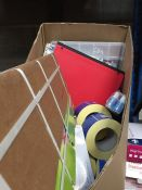 1 LOT TO CONTAIN AN ASSORTMENT OF OFFICE PRODUCTS - ITEMS TO INCLUDE DISPOSABLE GLOVES, BIROS, ROLLS