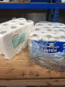 1 LOT TO CONTAIN 9 X ROLLS OF LAMBI TOILET PAPER AND 8 X ROLLS OF STAPLES KITCHEN ROLL - L3