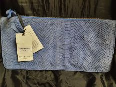 ONE LOT TO CONTAIN ONE JOHN LEWIS COLLECTION ZIPPED PURSE / CARRY BAG. IN BLUE. STILL HAS ORIGINAL