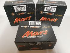 ONE LOT TO CONTAIN THREE UNOPENED BOXES OF MARS BARS. EACH BOX CONTAINS 48 BARS, 144 BARS PER LOT.