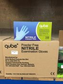 1 LOT TO CONTAIN 10 BOXES OF QUBE POWDER FREE NITRILE EXAMINATION GLOVES IN BLUE, 100 GLOVES PER