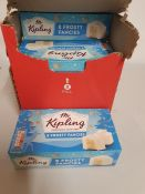 ONE LOT TO CONTAN ONE BOX OF MR KIPLINGS FROSTED FANCIES. 12 PACKS PER BOX. 8 CAKES IN EACH PACK.