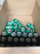 1 LOT TO CONTAIN A BOX OF 31 CANS OF 7UP, SOME OF THE CANS ARE DAMAGED BUT HAVEN'T OPENED BB