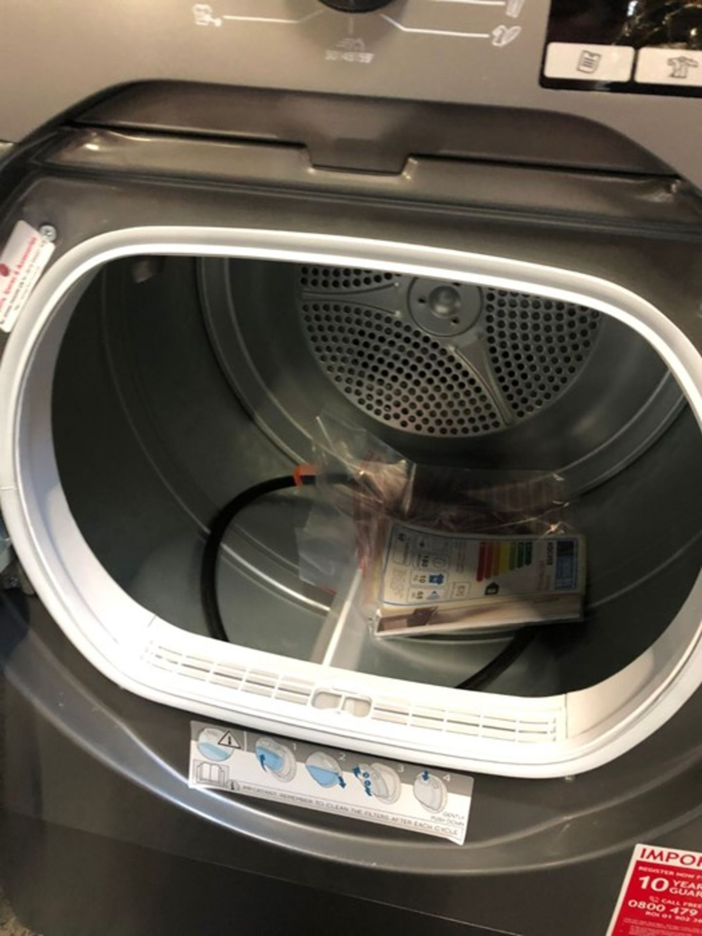 HOOVER CONDENSOR FREESTANDING TUMBLE DRYER DXO C10TCER-80 - Image 2 of 3