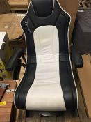 X ROCKER TORQUE 2.1 AUDIO PEDESTAL GAMING CHAIR IN WHITE AND BLACK