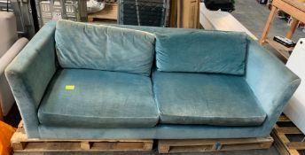 NICK MUNRO FOR JOHN LEWIS GRAND CHESTER 3 SEATER SOFA IN BLUE VELVET / RRP £1799