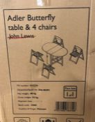 JOHN LEWIS ADLER BUTTERFLY DROP LEAF FOLDING DINING TABLE & 4 CHAIRS