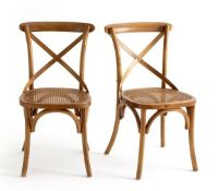 LA REDOUTE CEDAK SET OF 2 WOOD AND CANE CHAIRS