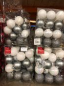12 X PACKS OF CHRISTMAS BAUBLES - SILVER/WHITE / 36 BAUBLES PER PACK / COMBINED RRP £60.00 / LIKE