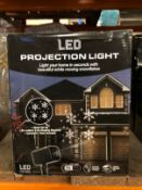 9 X LED OUTDOOR SNOWFLAKE PROJECTION LIGHTS / COMBINED RRP £135.00 / CUSTOMER RETURNS (IMAGES ARE