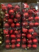 APPROX 18 X PACKS OF CHRISTMAS BAUBLES - RED / 36 BAUBLES PER PACK / COMBINED RRP £90.00 / LIKE