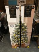 7 PRE-LIT SNOWY 3FT CHRISTMAS TREES / COMBINED RRP £105.00 / CUSTOMER RETURNS (IMAGES ARE FOR