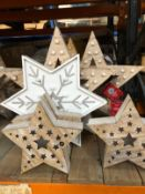 7 X LIGHT-UP AND DECORATIVE STARS / COMBINED RRP £61.00 / CUSTOMER RETURNS (IMAGES ARE FOR