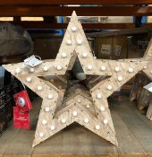 5 X LIGHT-UP WOODEN STARS / COMBINED RRP £50.00 / CUSTOMER RETURNS (IMAGES ARE FOR ILLUSTRATION