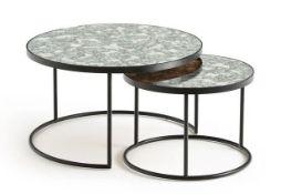 LA REDOUTE LIPSTICK SET OF 2 SEMI-NESTING COFFEE TABLES