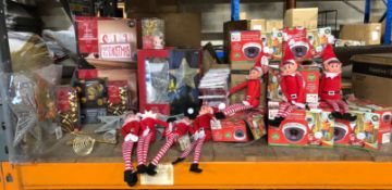 1 X LARGE ASSORTMENT OF CHRISTMAS PRODUCTS / INCLUDING ELVES, LIGHTS, CRIMBO CARDS AND MORE